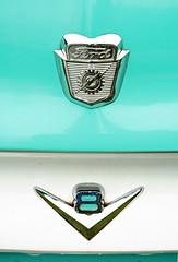 Ford V8 - 1956 Ford F100 Detail (Brad Harding Photography) Tags: white ford truck antique turquoise utility pickup f100 chrome badge restored kansas hood restoration 1956 paola v8 56 fordmotorcompany heartlandcartruckandbikeshow