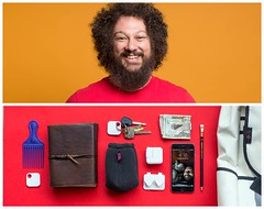 Jim Diptych (J Trav) Tags: persona whatsinyourbag theitemswecarry showusthecontentofyourbag diptych seamless color portrait red orange beard