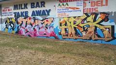 Tabloid & Askem... (colourourcity) Tags: streetart streetartaustralia graffiti melbourne burncity awesome streetartnow burner letters alphabetmonster tabloid troc datm askm askem ask arsk mdr adn sdm joiner
