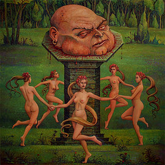 Im Titanenhain (At the Giants Grove) by Michael Hutter (JamesGoblin) Tags: nsfw mature oil painting oilpainting surreal surrealism art girl girls dance dancing naked nude breast breasts nipple nipples buttock buttocks butt wood meadow man head beheaded beheading giant tree trees