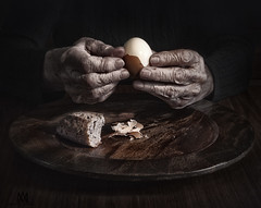 mealtime (marianna_a.) Tags: meal food hands peeling egg bread crust wood plate dark poor old aged weathered wrinkled tired worked senior p1140955 mariannaarmata f64g81r3win f64g81champ