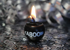 Party Time! (Helen Orozco) Tags: macromondays happy10years kaboom canonrebelsl1 flame wick dabomb hmm confetti silver wax explosive bang celebration party 1x1inchcandle hbmm
