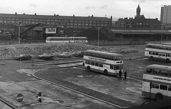 Hyde Road Bus Depot (Deadman's Handle) Tags: hyderoadbusdepot bus buses 1977 blackandwhite