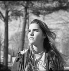 Sun on Her Face, Wind in Her Hair (summit-photo) Tags: monochrome blackandwhite bnw bw film ilford fp4 people portrait portraiture rollei rolleicord schneider kreuznach xenar tlr 120 6x6