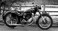 Digger Dave's Bike - 1949 AJS. (Gerry Hat Trick) Tags: black white mono motorbike ajs 500 petrol vintage 1949 single pot cylinder yorkshire broughton 500cc blacknwhite blackandwhite monochrome biker rider saddle