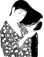 Vector Comb (sjrankin) Tags: 17february2017 edited processed library goyo vector vectorized ukiyoe art japaneseart print illustration womanwithcomb girlwithcomb grayscale