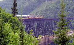 Agawa Canyon Train (craigsanders429) Tags: bridges trestles railroadbridges algomacentralrailway canada algomacentral agawacanyontrain passengertrains passengercars aboardatrain ontario emdf9a f9a emdfunits locomotives
