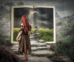 TheWonderOfBooks (clabudak) Tags: book bookworm story environment openpage pages path pathway girl castle surreal landscape