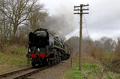 34027 Taw Valley - Severn Valley railway (Andrew Edkins) Tags: 34027 tawvalley southernrailways highley severnvalleyrailway svr preservedrailway shropshire england uksteam railwayphotography canon geotagged trees lightpacific westcountryclass smoke steamtrain curve bulleid spring march 2017 emptycoachingstock