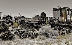 spare parts.... (BillsExplorations) Tags: abandoned spareparts junkyard salvage decay rust metal old vintage forgotten spare goldfield nevada ghosttown desert backroads selectivecolor abandonedcars truck truckthursday