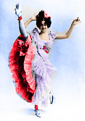 Can Can Woman (kevin63) Tags: lightner old photo woman dancer french cancan raise leg highheels petticoat stockings retouch clementine facebook 1900s 1890s red paris pretty vintage antique photoshop colorized retouched