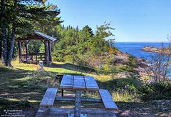 Great Spot for a Picnic, Copper Harbor, Michigan (PhotosToArtByMike) Tags: copperharbor picnic bench picnictable hunterspointpark rockycoastline keweenawpeninsula michigan mi upperpeninsulaofmichigan lakesuperior rockformations bluewater upperpeninsula up uppermichigan