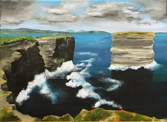 Downpatrick Head, Mayo (Isolde Clynes) Tags: ireland sea wild sky cliff seascape storm mountains art water rock painting landscape acrylic waves head stack co mayo rough downpatrick