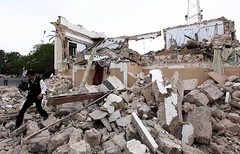 Acciones de la OTAN en el mundo (teleSURtv) Tags: libya tripoli on the of horizontal|maghreb|political crisis|revolt|bombardment|air raid|nato|unsanction|consquences war|destruction|ruins|damage|political building|journalist field|personpress