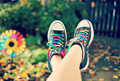 Rainbow Converse (Lucid Dreamer ) Tags: autumn colors garden cool rainbow colorful bright awesome converse chucks laces chucktaylors whirligig