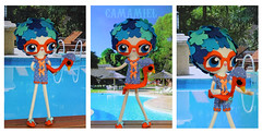 Pepiscina (Ana Camamiel) Tags: blue orange cute azul vintage duck doll felt piscina retro swimmingpool pato kawaii swimmer swimsuit naranja baador mueca rubberring nadadora swimmingcap flotador fieltro gorrodebao