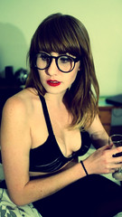 heidi (teaislovely) Tags: nerd girl heidi glasses wine boobs bra bordelle