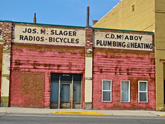 Slager and McAboy, Butte, MT (Robby Virus) Tags: signs brick abandoned wall joseph store montana closed butte ghost ad plumbing advertisement business storefront heating slager mcaboy