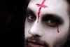 The Curse (Blue Celt) Tags: travel portrait black paris france blood europe peoples bloody regard ténèbres ténébreux zombiewalk2013