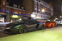 Aventadors (Sorin B. VHS) Tags: uk red italy orange black london colors exposure italia gb nightlife lamborghini supercar matte supercars combo aventador
