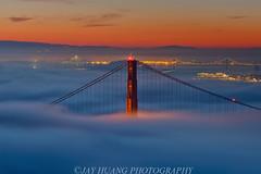 Bridges Line Up (Jaykhuang) Tags: sanfrancisco california skyline sunrise cityscape marin goldengatebridge baybridge bayarea bluehour headland hawkhill lowfog 雾锁金门桥