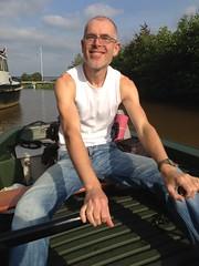 Loosdrechtse Plassen - Tijs roeiend naar De Vier Elementen 2 (TijsB) Tags: camping lake nature utrecht rowing fkk loosdrechtseplassen gaycouple naturists devierelementen tijsjoan naturistenvereniging