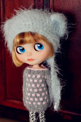 Icy blue Fluffy Helmet & Grey Cashmere sweater