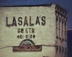 LASALAS FIFTH (FotoEdge) Tags: usa signs west history sign reflections river studio ancient alley downtown gallery industrial shadows unitedstates sundown steel bricks ghost letters 19thcentury rusty sandwich haunted warehouse kansascity faded missouri bottoms ghostly northeast 5th sandwiches economy crusty relics treasures kcmo fifth factories missouririver westbottoms remainder sunglow fotoedge wwwfotoedgecom forgottenalley bobtravaglione flickrandroidapp:filter=none copyright2014