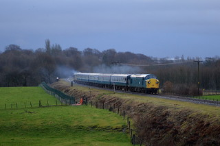 37109 & 50015 turn on the power as they pass Burrs Country Park during the East Lancs Diesel Gala, 11th Jan 2014.