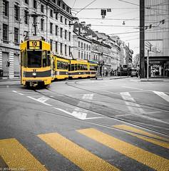TramwaYellow (www.picslim.com) Tags: yellow jaune switzerland fuji suisse tram rail basel streetphoto rue tramway x100s