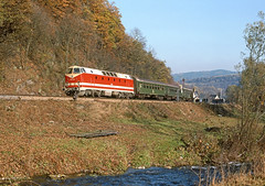 Hockeroda - 219179 by 63842 - 219179 with the 11.09 Saalfeld - Sonneberg, taken just south of the junction here for the branch to Blankenstein, 01.11.92.  Its nice to have the semaphore signals in the picture, presumably lost when the line was re-electrified, but I should have let the front of the loco come beyond the little trackside box!