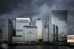 Apocalyptic Docklands (Umbreen Hafeez) Tags: street city uk england cloud building london architecture clouds marina buildings boats grey boat dock europe poplar cityscape state bank basin east wharf gb docklands canary citibank hsbc apocalyptic barclays blackwell citi