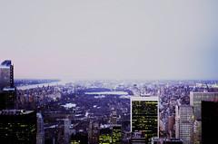 Park View. (Julien Prénat) Tags: park nyc newyorkcity light sky usa ny newyork film night landscape lights nikon view centralpark manhattan empirestatebuilding empirestate 135 parc argentic