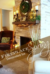 Fireplace Decorated for Spring 2 (dining delight) Tags: bunny birdcage fireplace ivy lantern candlesticks minilights heisrisen boxwoodwreath blackroundmirror |springmantel