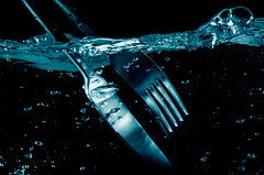 splashing  Fork and  Knife in water. on black (9george) Tags: stilllife abstract motion cold macro reflection nature wet water design cool energy pattern drink action smooth knife objects wave fork drop cleaning clean falling bubble backgrounds highkey studioshot rippled copyspace transparent liquid washing isolated pouring freshness spraying molten refreshment concepts splashing aqueous flowingwater colorimage isolatedonwhite isolatedobjects conceptsandideas slightmotion