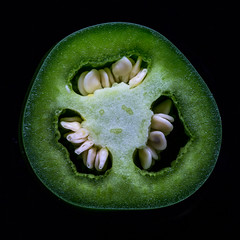 Jalapeo (Dalliance with Light) Tags: food macro green fruit pepper chili seeds spicy crosssection capsicumannuum jalapeo capsaicin
