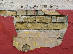 Brick in the Wall (Drew Z) Tags: red detail brick wall wisconsin sony plaster wi deterioration stoughton a290 201405
