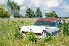 Old Desoto And Abandoned House (nikons4me) Tags: old house abandoned field car clouds weeds junk farm iowa desoto nikon35mmf18gafsdx nikond7100