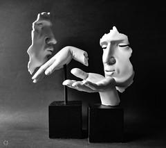 A Kiss (Little Hand Images) Tags: sculptures faces hands kiss decor art blackandwhite shadowsandlight vitruviancollection