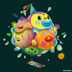 Headball (bubblefriends) Tags: bubblefriends illustration illustrator design character art visualart artistonflickr cowboyhat circus smile ball splash vector simple