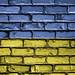 National Flag of Ukraine on a Brick Wall
