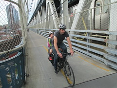 Long bike rider, Manhattan Bridge (wrightrkuk) Tags: brooklyn manhattan bridges manhattanbridge biketoworkday bikenyc cyclefacilities longbikes biketoworkday2013