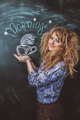 Morning starts with Mug 2 (Polev) Tags: morning portrait inspiration orchid girl beauty bag evening flying chalk drawing girly things portraiture mug wineglass gaze copy blackboard peer itself regard