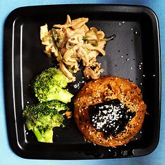 South Korean dinner: egg covered with kimchi rice and algae, broccoli salad and marinated pork meat (sunsetbaytravel) Tags: food vegetables fruit dinner lunch yummy italia south delicious korean homemade sweets noodles dishes typical cena cibo dolci italiano buono pranzo piatti piatto casalingo