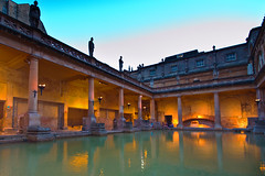 Roman Baths (stumpyheaton) Tags: old uk blue light england sky water silhouette outside nikon bath roman sigma soe d5100