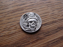 "Skull 'n' hat Hobo nickel • <a style=""font-size:0.8em;"" href=""http://www.flickr.com/photos/72528309@N05/9422867268/"" target=""_blank"">View on Flickr</a>"
