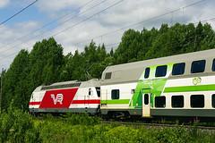 Finnish Railways Class Sr2 electric No. 3217 whisks through Jokela on 2 July 2013 (A Scotson) Tags: electric finland coach carriage swiss railway trains locomotive vr doubledecker jokela marsu sr2 valtionrautatiet finnishstaterailways