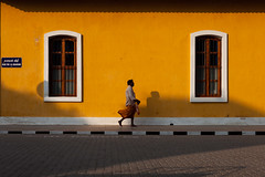 Yellow, Pondicherry (Marji Lang Photography) Tags: street travel people india french indian streetphotography tamil tamilnad