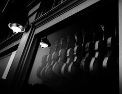 Violin Shop at Night (photographyguy) Tags: oklahoma tulsa bradyartsdistrict violins window night musicalinstruments bw blackandwhite