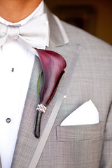 Purple and Bling Boutonniere (Soiree Design) Tags: wedding groom purple callalily tux boutonniere rhinestoneribbon